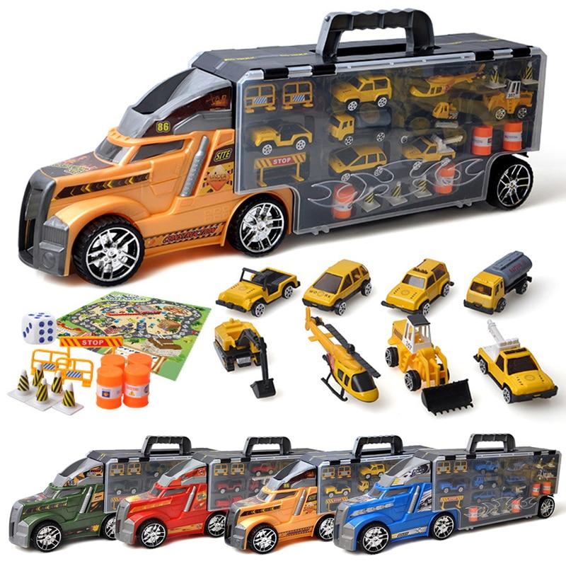 Doigt Rock 1/32 échelle Portable conception camion conteneur alliage voiture jouet avec Mini véhicule moulé sous pression jouets inertie modèle de voiture coulissante