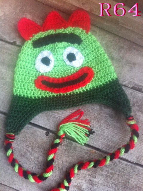 Baby Beanie Hat Handmade monster Hat Knit Crochet baby cap Green Free shipping TOP quality!