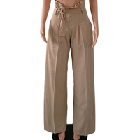 Women Casual OL Party Fashion Bow Tie High Waist Trousers Pantalones Wide Leg Pants Solid Loose