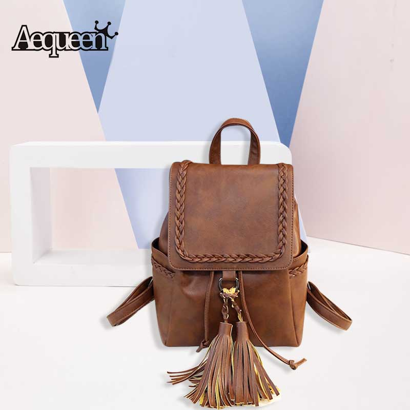 AEQUEEN Vintage Tassel Backpacks Weaving Girls School Bag PU Soft Leather Lady Backpack Women Bookbag College