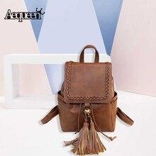 Aequeen vintage кисточкой рюкзаки плетения для девочек школьная сумка из мягкой искусственной кожи леди рюкзак женщины Bookbag колледж подростков machilas