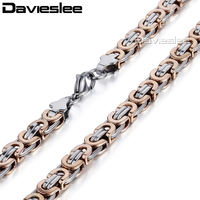 6 5 9 11mm Mens Boys Chain Flat Byzantine Link Rose Gold Silver Stainless Steel Necklace