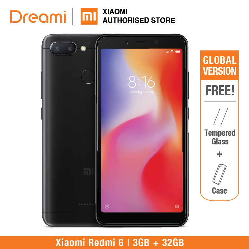 Global Version Xiaomi Redmi 6 32GB ROM 3GB RAM (Brand New and Sealed)