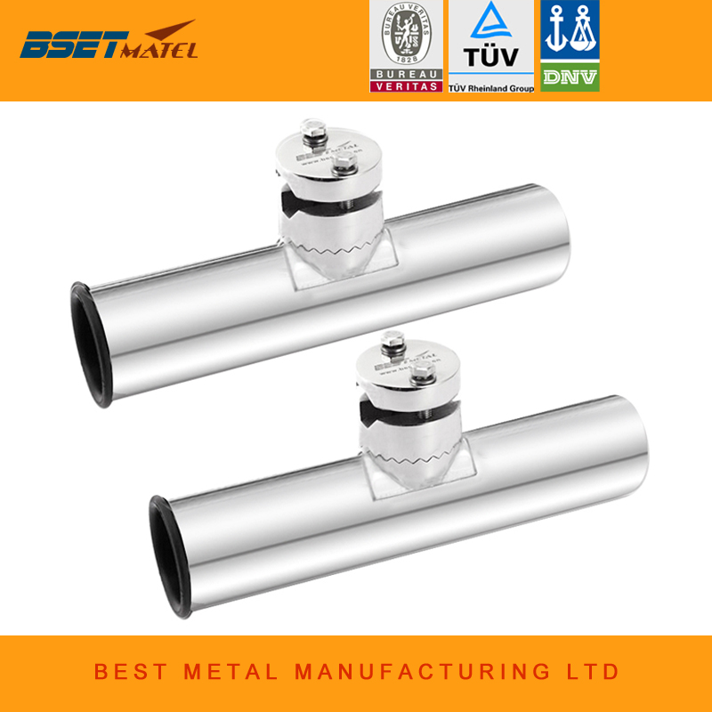 2 Pieces Adjustable Removable stainless steel 316 fishing rod holder clamp on Rail Mount for rail 19mm to 26mm OD for boat yacht