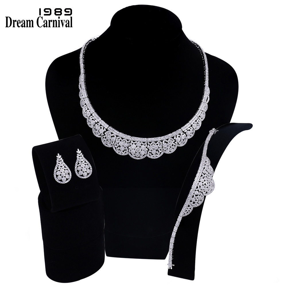 DreamCarnival 1989 Pretty Elegant Design Saudi Ladies Big Wedding Bridal White CZ Necklace Earrings Bracelet 3pcs Set B16672DreamCarnival 1989 Pretty Elegant Design Saudi Ladies Big Wedding Bridal White CZ Necklace Earrings Bracelet 3pcs Set B16672