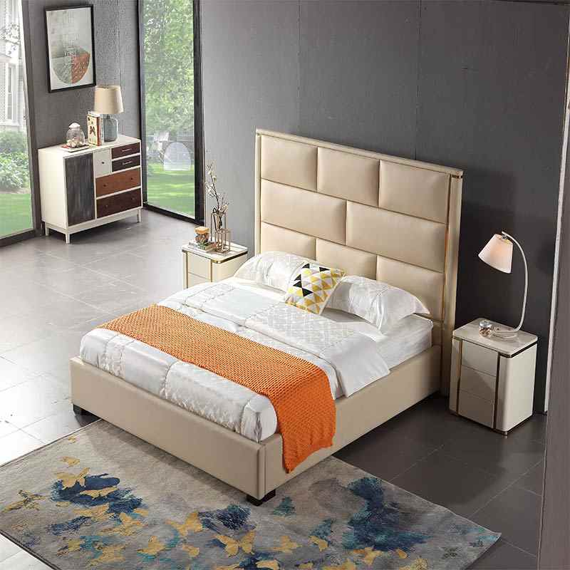 High end home or hotel furniture genuine leather bed
