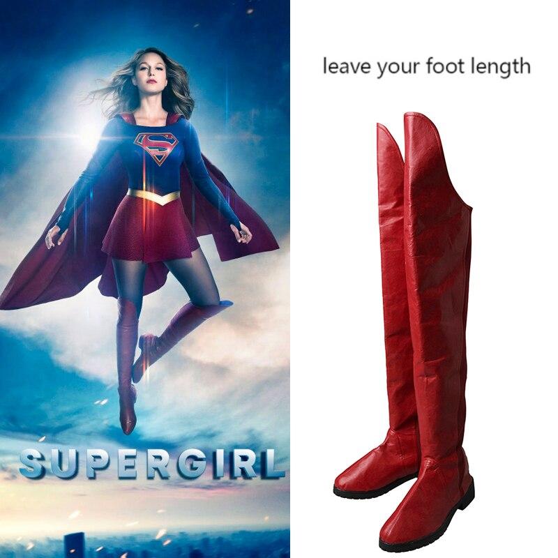 Supergirl Costume Kara Zor El Danvers Cosplay Boots Red Shoes Superhero Halloween Adult Women Cosplay High