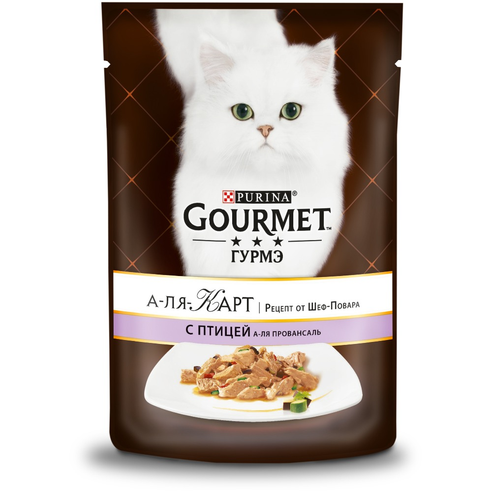 цена на Wet food Gourmet A la Carte for cats with poultry a la Provencale, eggplant, zucchini and tomato, pouch, 24x85 g.