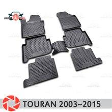 Коврики для Volkswagen Touran 2003 ~ 2015 коврики Нескользящие полиуретановые грязезащитные внутренние аксессуары для стайлинга автомобилей
