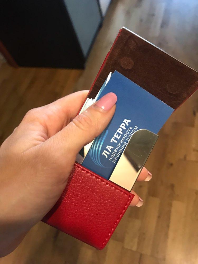 PU en metalen mannen visitekaartje houder Case om te beschermen Creditcards Mode Namecard houder kaart portemonnee Vrouw kaarthouder portemonnee photo review