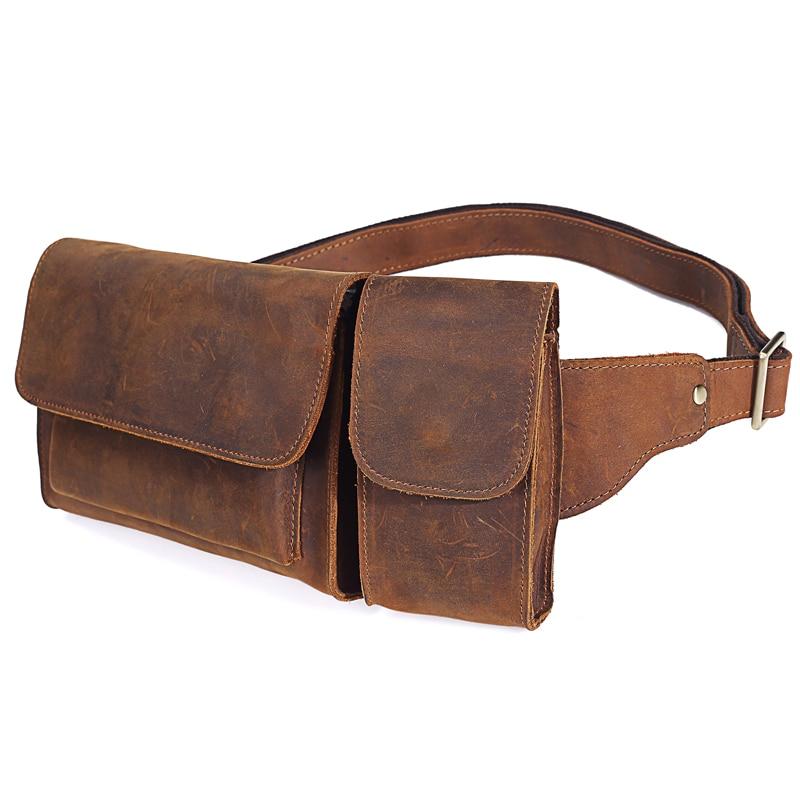 Image 5 - 2019 New Vintage Genuine Leather Men Waist Pack Casual Multi  functions Fanny Pack Belt Bag Male Travel Phone Pouch Shoulder Bagbag  fannybelt bagwaist pack