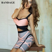 Summer Crop Top 2 Two Sets Sexy Sleeveless Short Bandage Dress Women Hot Sale Hollow Out Two Sets Celebrity Party Club HL