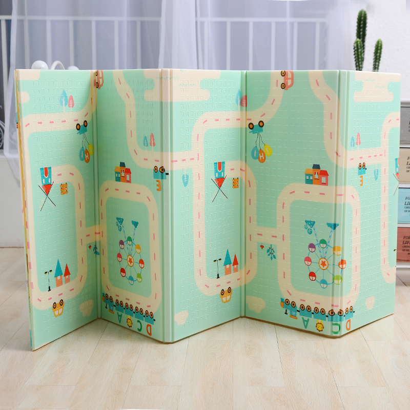 Bébé brillant épaissi 1.5 cm tapis de jeu 200*180 cm pliable dessin animé bébé tapis de jeu enfants ramper Pad Puzzle antidérapant tapis de jeu - 4