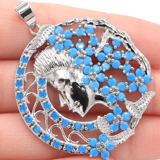 New Designed Big Moon Goddess Blue TurquoiseGift For Girls Silver Pendant 51x39mm
