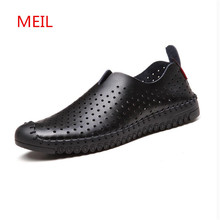 2018 Summer Leather Casual Shoes Men Hollow Out Breathable footwear Slip on Driving Shoes Mens Loafers Man Shoes Zapatos Hombre цена