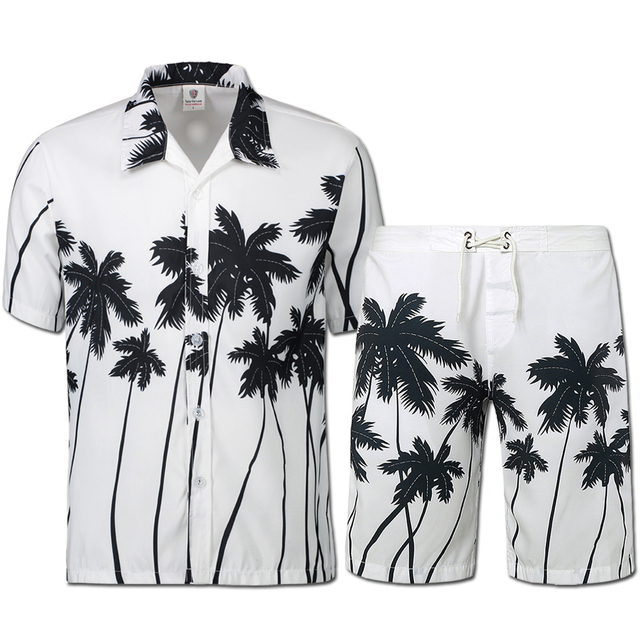 ab59f8cf06b Palm printing Hawaii style men s casual suit Men s beach party costumes  Fast drying clothes Men s bathing suits(shirt+shorts)