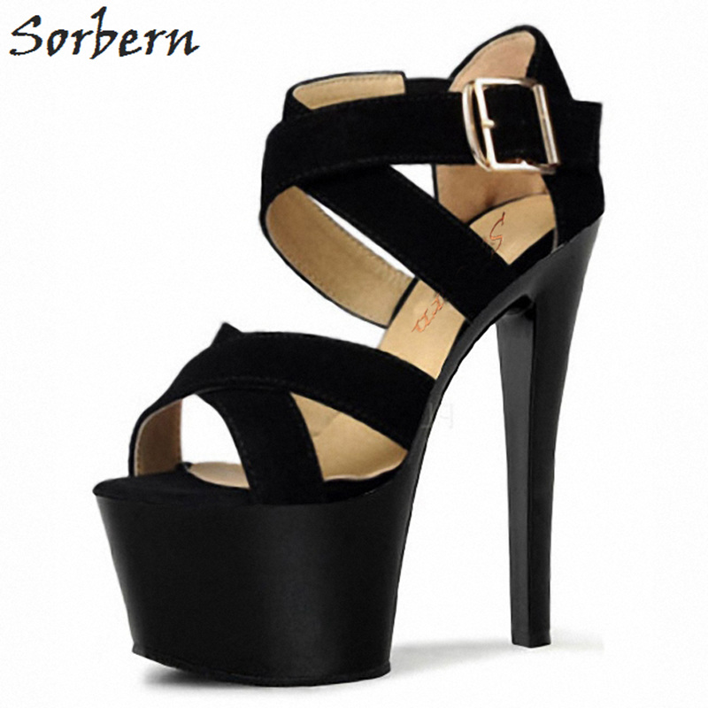 Sorbern 15Cm Black Elastic Strap Sandals High Heels Platform Open Toe Shoes Party Sandals For Women Gladiator Heels Sexy High 2018 fashion women pumps sexy open toe heels sandals woman sandals thick with women shoes high heels s144
