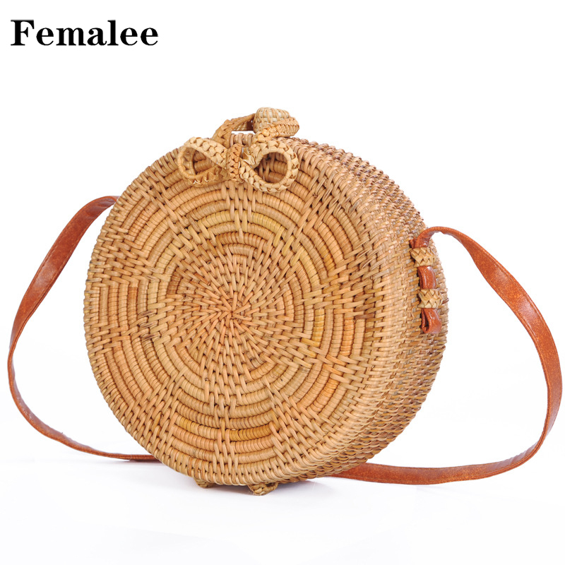 FEMALEE Bali Round Straw Handbag Female Knitted Rattan Bag Vintage Beach Handbags bolsas Handmade Woven Shoulder Bags For Women