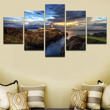 Wall Art Frame HD Printed Steep Cliff Lighthouse Sunset Seascape Painting Ocean Poster Canvas Painting 5 Pieces Home Decorative steep [xbox one]