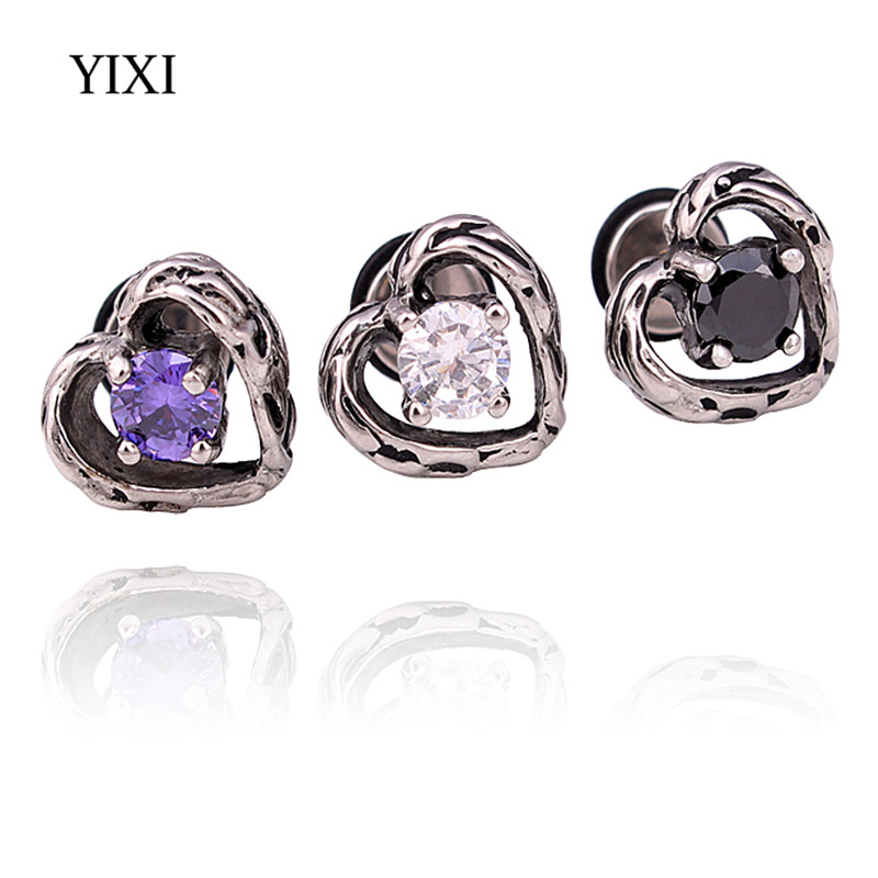 YIXI New Luxury Zircon Heart Shaped Stud Earrings Stainless Steel For Women Men Vintage Jewelry Geometry Earring Bijoux Femme