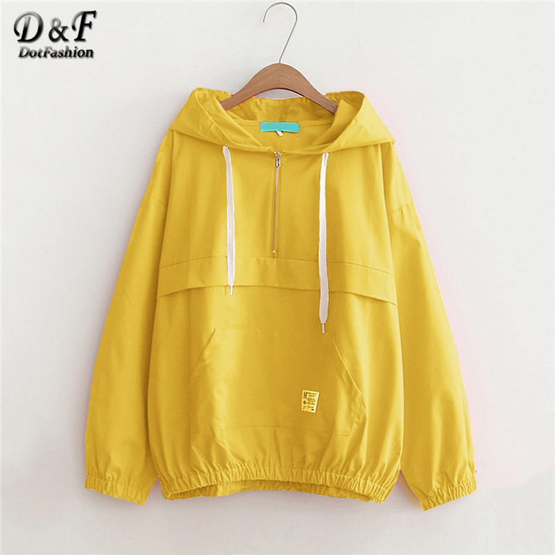 b389299ce54 Dotfashion Yellow Drawstring Pocket Zip Up Hoodie Jacket Women Casual Autumn  Hooded Plain Clothing Ladies Spring Zipper Coat-in Basic Jackets from  Women s ...