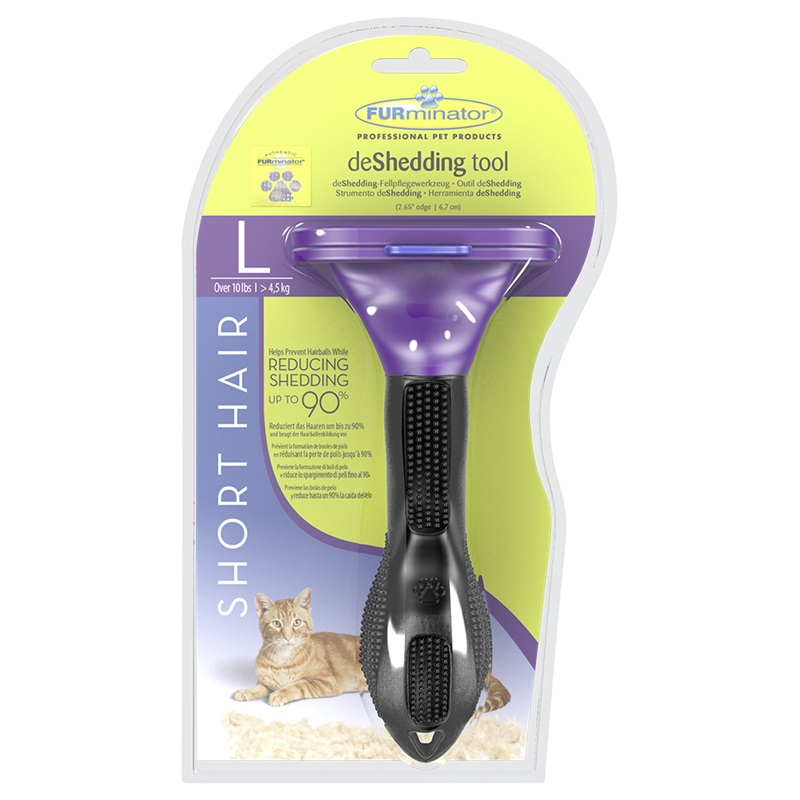 Tool against molting FURMINATOR for short-haired cats of large breeds Short Hair Large Cat, L, 7 cm. Cat accessories tool 7