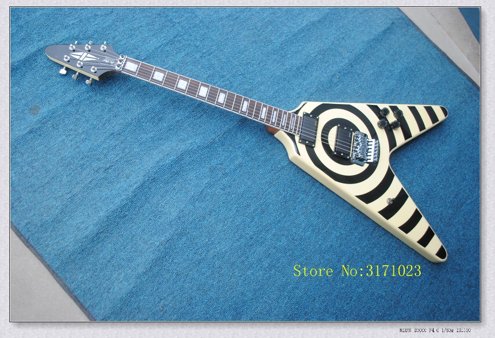2017 Custom Shop Zakk Wylde Vertigo Bullseye Flying V Electric Guitar Black & White Floyd Rose Tremolo In Stock For Sale china custom fretless 4 string music man electric bass guitar in glossy black in stock