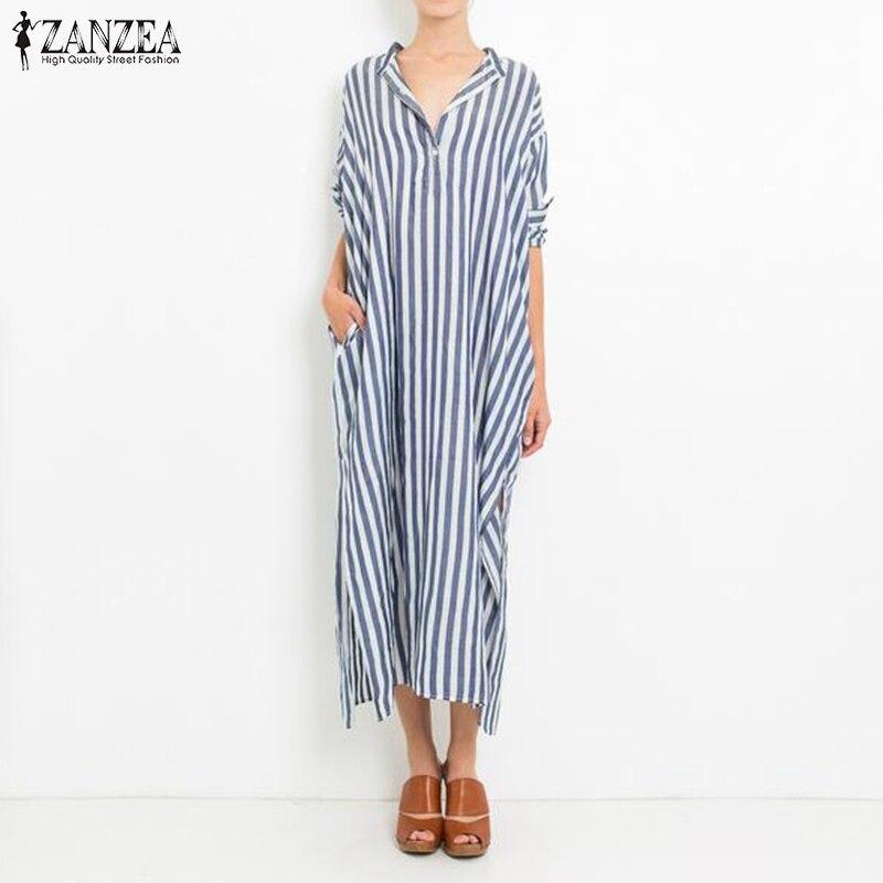 ZANZEA Women 2018 Autumn Vintage Striped Maxi Long Dress Oversized Casual Loose V Neck Split Hem Ankle-length Dresses Vestidos