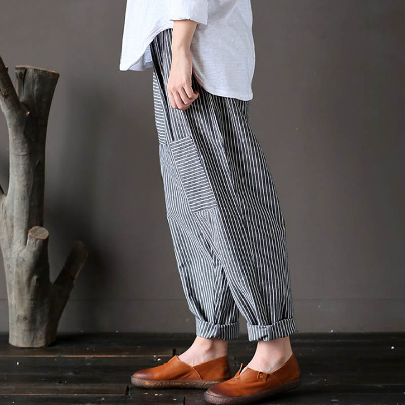 1f0b94ddc3e84 5XL Plus Size ZANZEA Women Striped Pants Elastic Waist Cotton Linen  Pantalon Loose Long Harem Trousers Casual Baggy Streetwear-in Pants    Capris from ...