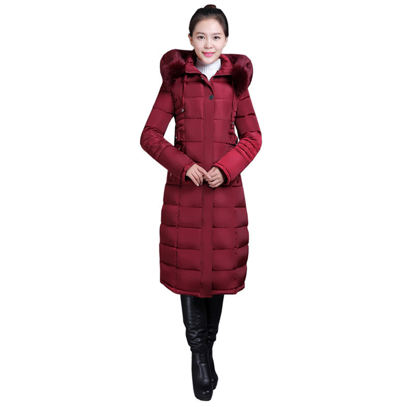 Women s winter Cotton jacket New fur collar hooded Overcoat Long section high quality thick warm