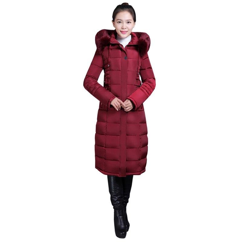 Femmes d'hiver de Coton veste Nouvelle col de fourrure à capuchon Pardessus Longue section de haute qualité épais chaud parka survêtement Femelle