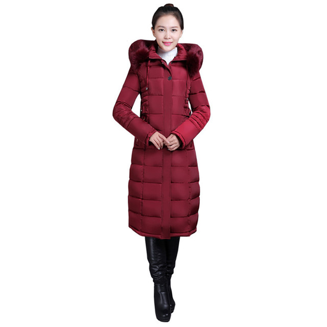 Jaqueta Nova gola de pele de Algodão com capuz Casaco de inverno das mulheres Longa seção de alta qualidade parka quente grosso outerwear Feminino