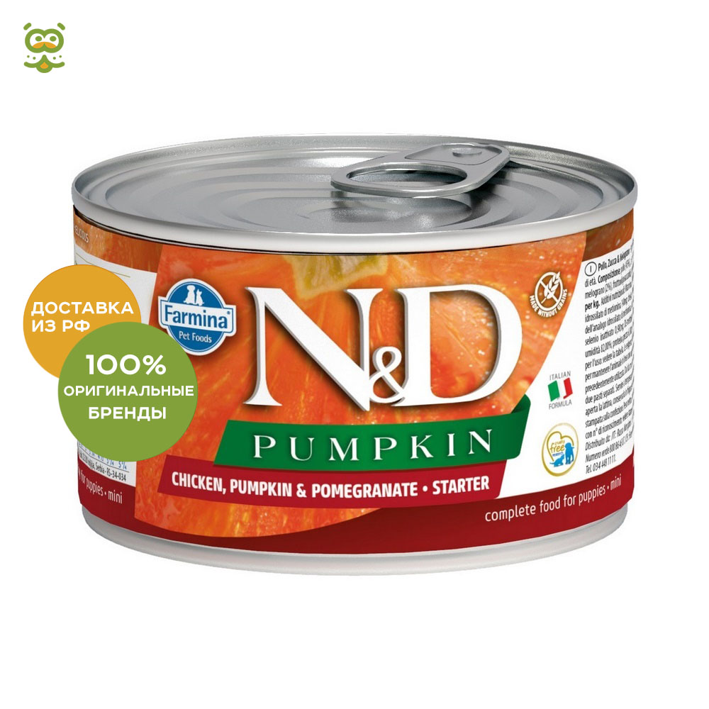N&D Dog Pumpkin Starter Mini canned food for pregnant and lactating females, Chicken, pumpkin and pomegranate, 140 g. цена