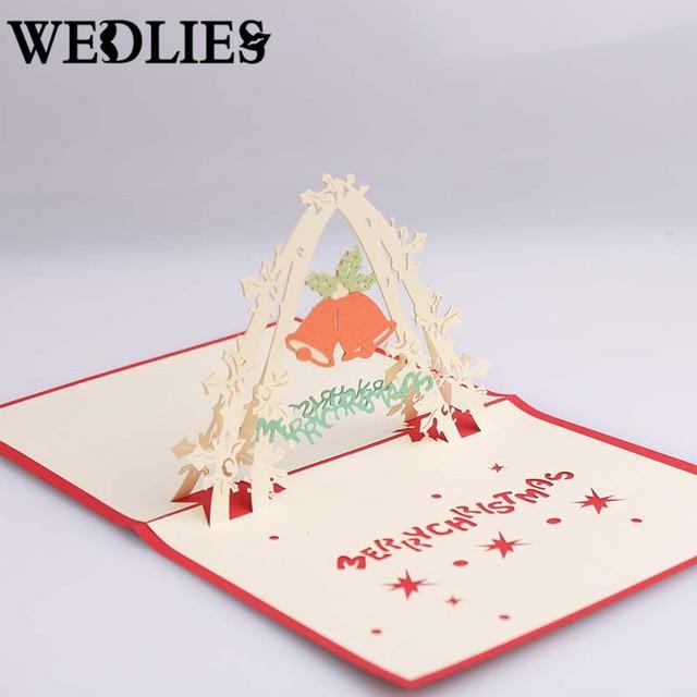 3D Frohe Weihnachten Einladungskarten Arch Tür Glocken Grußkarten Rot  Papier Karten Weihnachten Party Events Dekoration