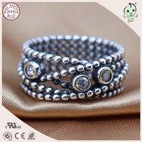 Popolare Marca Famosa di Stile Della Boemia 100% 925 Sterling Silver Multi Bead Circle Anello di Punta