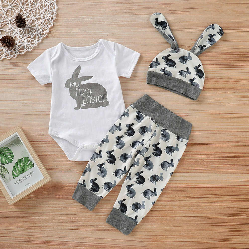1366fe1cd ... ISHOWTIENDA 2019 New Arrival Newborn Baby Girl Boy Cartoon First Easter  3D Bunny Outfits Romper Hat ...
