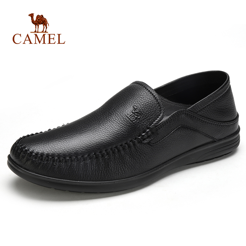 CAMEL Men's Shoes Genuine Leather Spring Summer Business Casual Lightweight Middle-aged Soft  Cowhide Resistant Shoes For Men