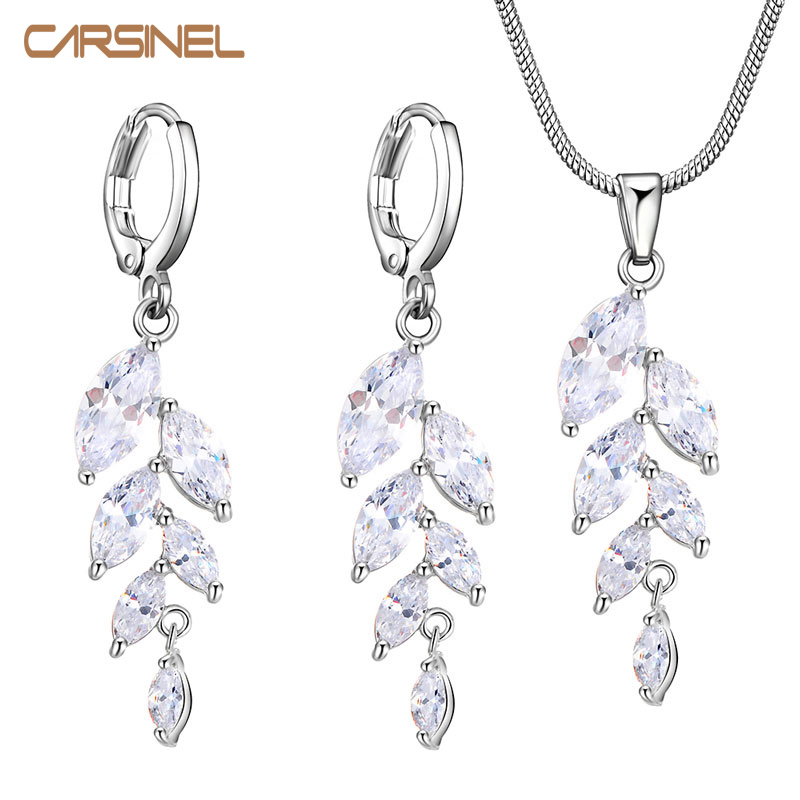 CARSINEL Mewah Ayunan Set Perhiasan Trendy wanita warna Silver Cubic Zircon Earrings Kalung Set Perhiasan Wanita Set JS0017