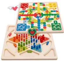 Ludo Board Game & Chinese Checkers 2 in 1 Natural Wooden Board Flying Chess Family Game for Adults and Kids(China)