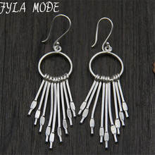 Fyla Mode 925 Thai Silver High Quality Round Tassel Earrings Factory Price Wholesale Jewelry 65*20MM Valentine's Day Gift 13.60G