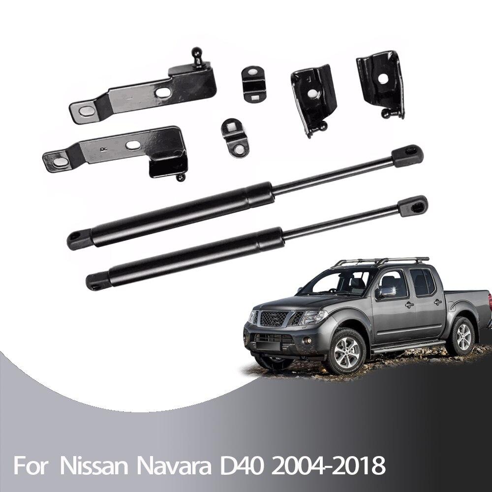 Para Nissan Frontier Navara Para Suzuki Equator D40 2004-2018 2x Frente Capa Bonnet modificar Apoio Elevador De Gás Struts amortecedor de choque