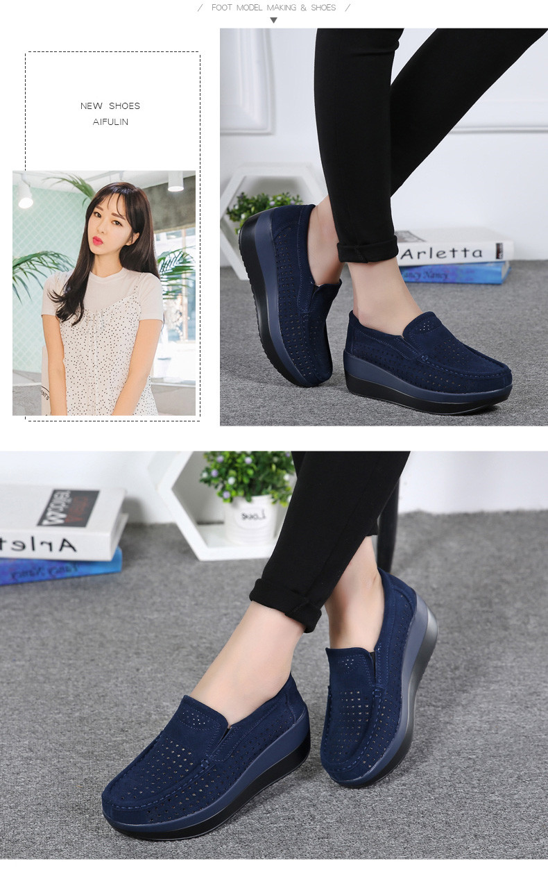 Ladies Suede Leather Hollow Slip-on Flat Shoes