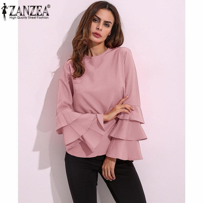 2018 ZANZEA Women Blouses Shirts Autumn Elegant Ladies O-Neck Flounce Long Sleeve Solid Blusas Casual Loose Tops