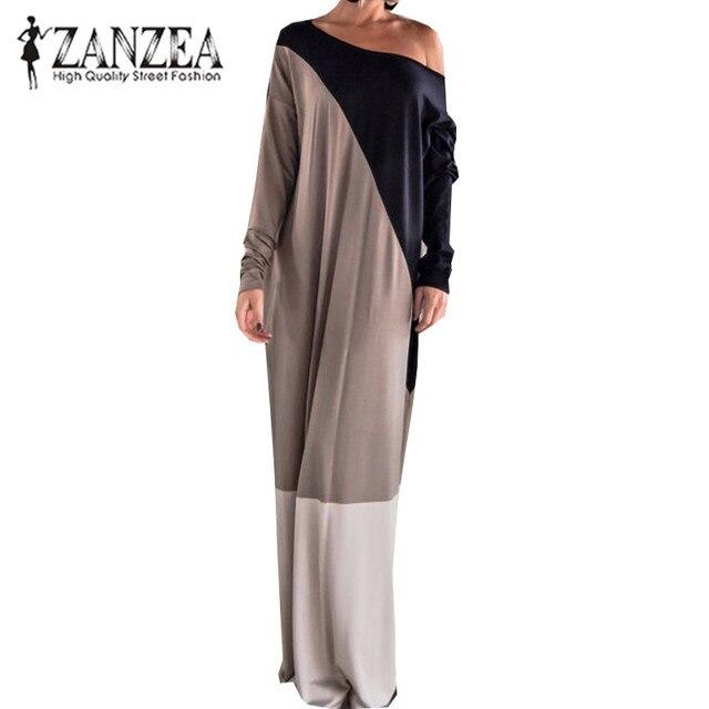 Plus Size ZANZEA Women Casual Sexy Off Shoulder Long Sleeve Autumn Vintage Color Block Loose Maxi Long Dress Party Vestido 2019