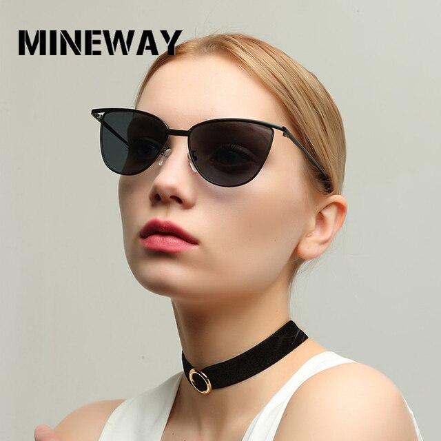 63a1fd355f MINEWAY 2018 Cat Eye Women Sunglasses Tinted Color Lens Vintage Shaped Sun  Glasses Women Eyewear Female Sunglasses
