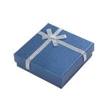 صندوق هدايا أنيق للقلادة 9x9x2.5 سم صندوق مجوهرات من الورق المقوى لسوار أقراط حلقة عرض التعبئة والتغليف مع الإسفنج الأبيض