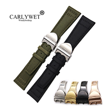 CARLYWET Wholesale 20 21 22mm Green Black Nylon Fabric Leather Band Wrist Watch Strap Belt With Deployment Clasp