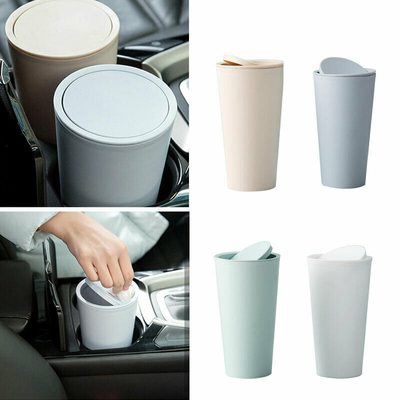 Mini Car Office Vehicle Waste Trash Rubbish Bin Can Garbage Dust Case Cup Holder