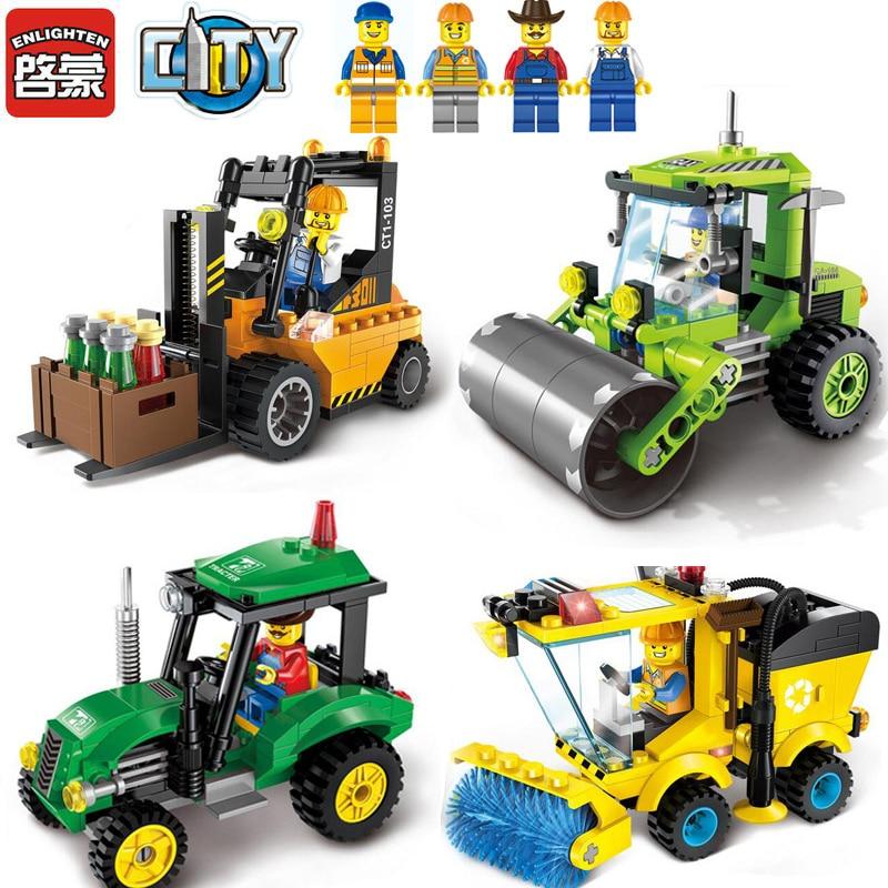 ENLIGHTEN 1101-1104 Road Roller Forklift Tractor Sweeper Truck Building Block Brinquedos Construction Assemble Toys For Children