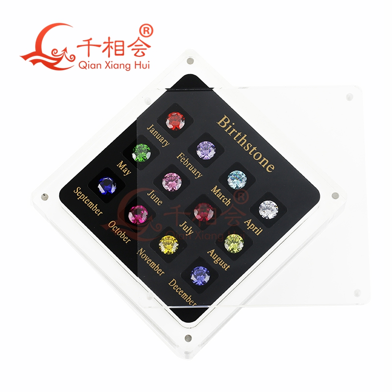 Купить с кэшбэком 12 birthstone  cubic zirconia and corundum loose gem stone cz display tools box  dia mond tester master set